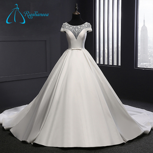 Cathedral Train Satin Sequined Beading Simple Western Wedding Dresses