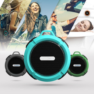 C6 Mini Waterproof Outdoor Speaker Manual Wireless Portable Guitar Speaker OEM IPX7 Shower Speaker With Suction Cup And Hook