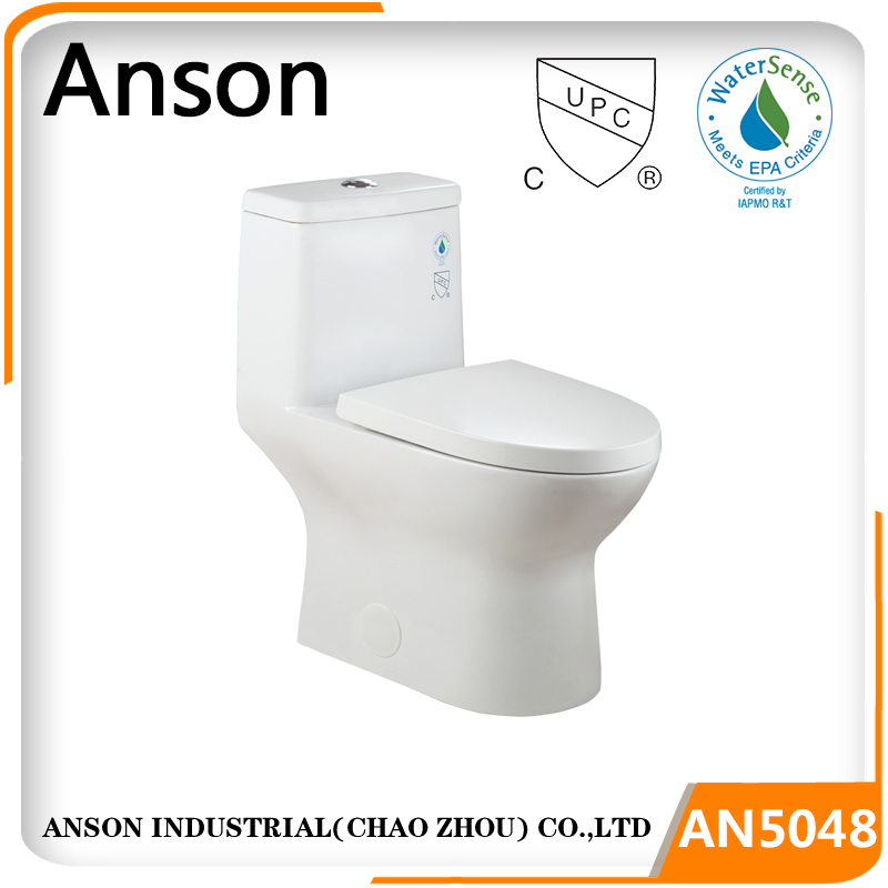 Sanitaryware factory Popular Double cyclone siphonic one piece toilet S trap 4.8L flush with cUPC and EPA Watersense HET toilet