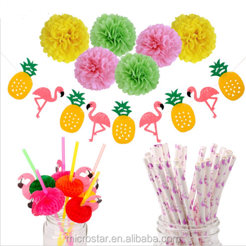 Amazon Hot Selling Hawaiian Luau 1st Birthday Decoration Pom Poms Paper Straws Theme Party Supplies