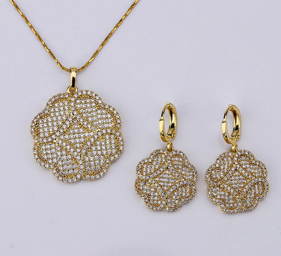 dubai gold wedding jewellery designs 18k gold bridal zircon jewelry