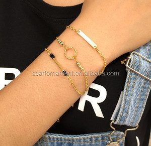 Newest Bulk Muti-layer Bead Alloy Bracelet Link And Chain Bracelets With Finger Rings Sequin And Black Coral Beads Charm