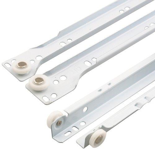 Prime-Line R 7211 Drawer Slide Kit, 17-3/4 in., Steel Tracks, White Powder Coat