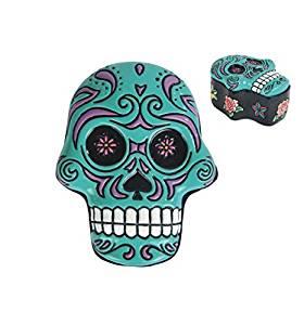 "StealStreet SS-G-44048 Ceramic Stars and Roses Sugar Skull Trinket Box, 3.5"", Teal"