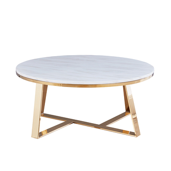 Round dining restaurant tables modern white marble top stainless steel restaurant living room table