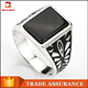 Wholesale New Black Stone Agate Rings Simple Designs Gemstone Jewelry Single Stone 925 Sterling Silver Signet Ring For Men
