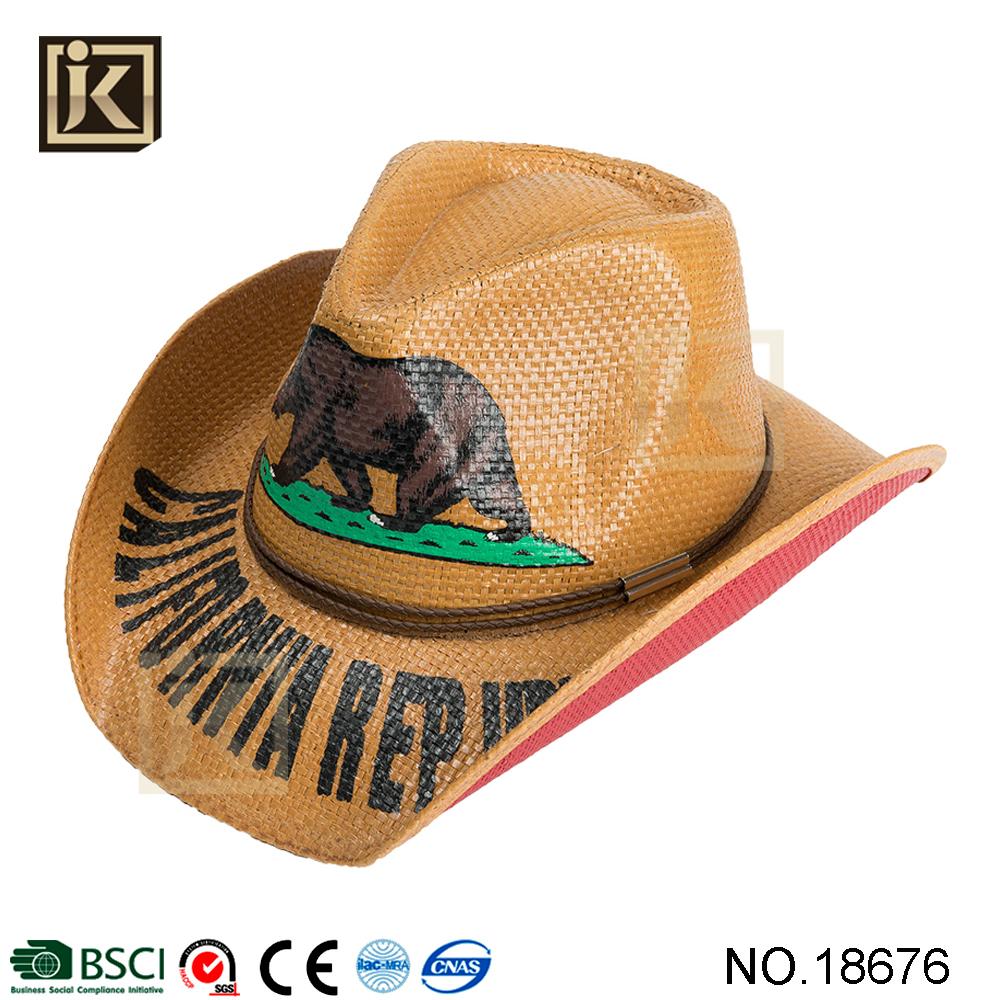 JAKIJAYI Brand USA bear cowboy strong summer print logo America flag  wholesa ACSle seaside straw cowboy hat 7d25446c05c