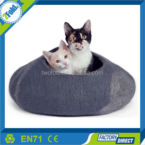 ECO friendly Handmade Organic Wool Cat Cave and Bed