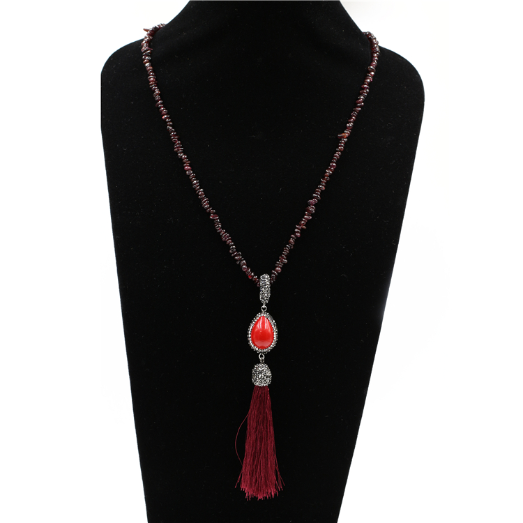 pretty woman fashion natural macrame pendant red coral necklace