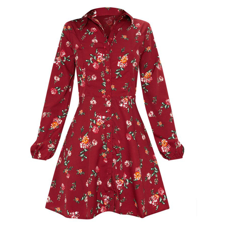 Hot sales cheap fashion custom Women's Knee Length Cute Floral Long Sleeve Casual Pleated dress