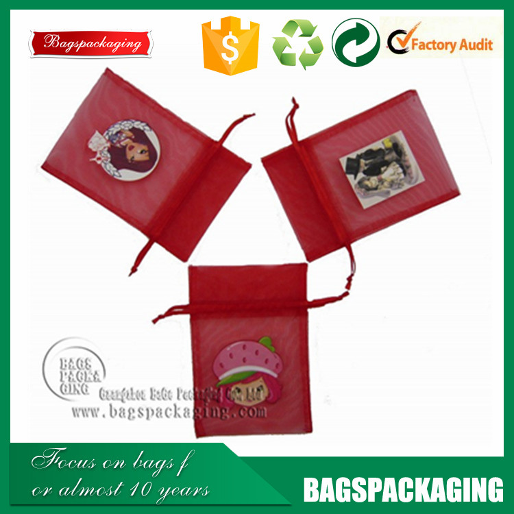 picture printed organza small christmas gift bag