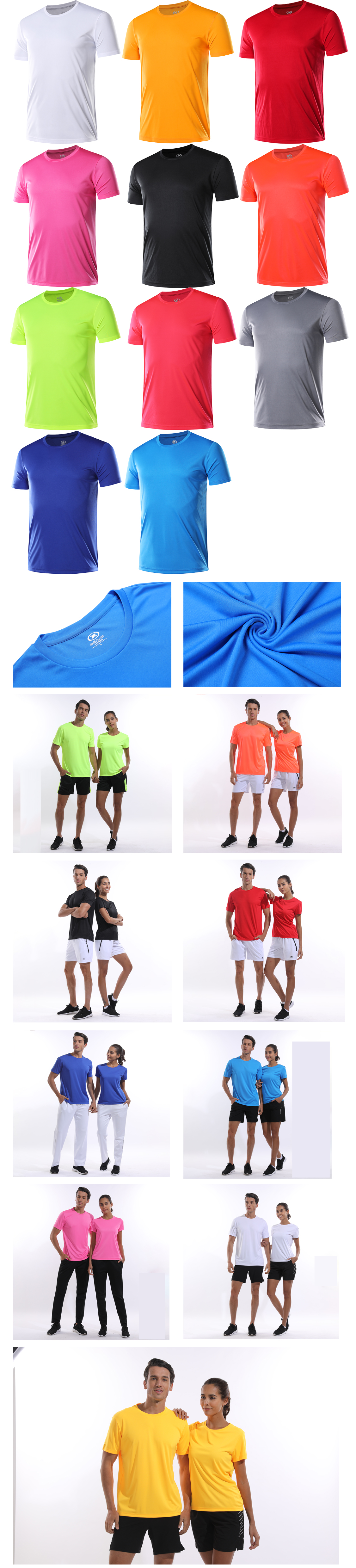 Hommes t-shirt gym plaine sport tennis t-shirts respirants à séchage course chemises