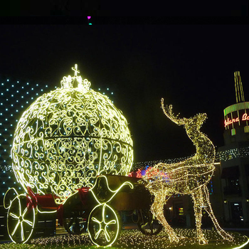 outdoor modern 3d led christmas wire frames motif lights horse carriage