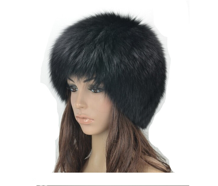 New Real Fur Hat Knitted Fox Fur Hat Women Winter Warm Female Silver Fox White Fox Furs Cap Good Gift Retail /Wholesale