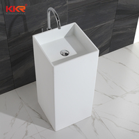 Hot design modern Pedestal solid surface stone black washbasin for bathroom