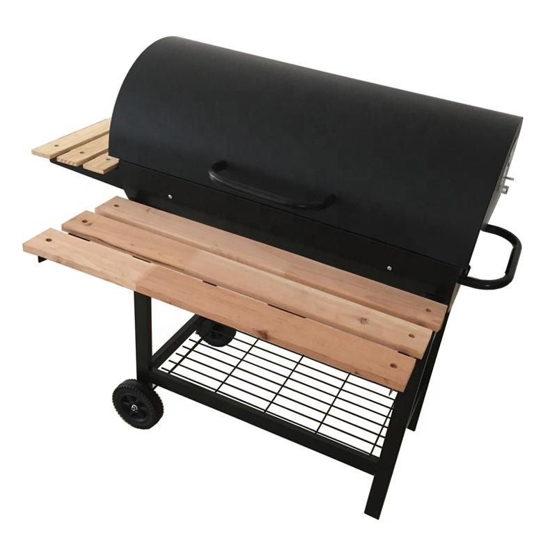La metà barile BBQ CARBONE BARBECUE DA GIARDINO NERO TAMBURO Portatile Outdoor Grill cibo