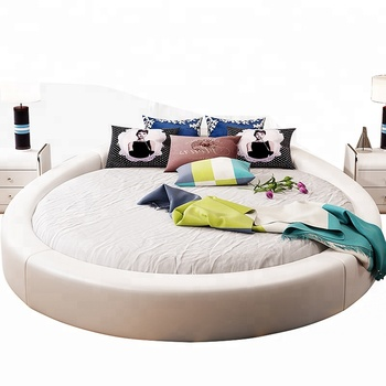 New Designs 2018 Top Quality Bedroom Furniture Best Price Leather Round Bed