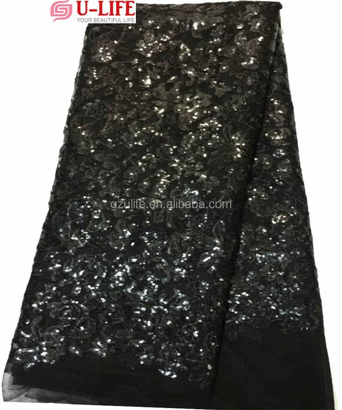 Plain Black Sequins embroidered french tulle Net lace fabrics for Party Dresses(F4069)