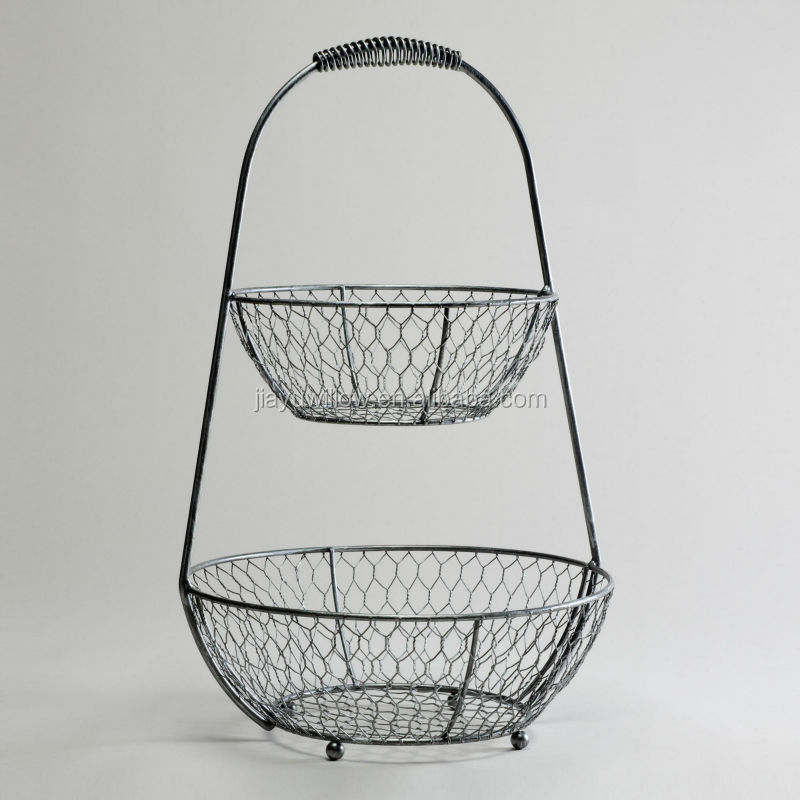 2 Tier Wire Fruit Basket Iron