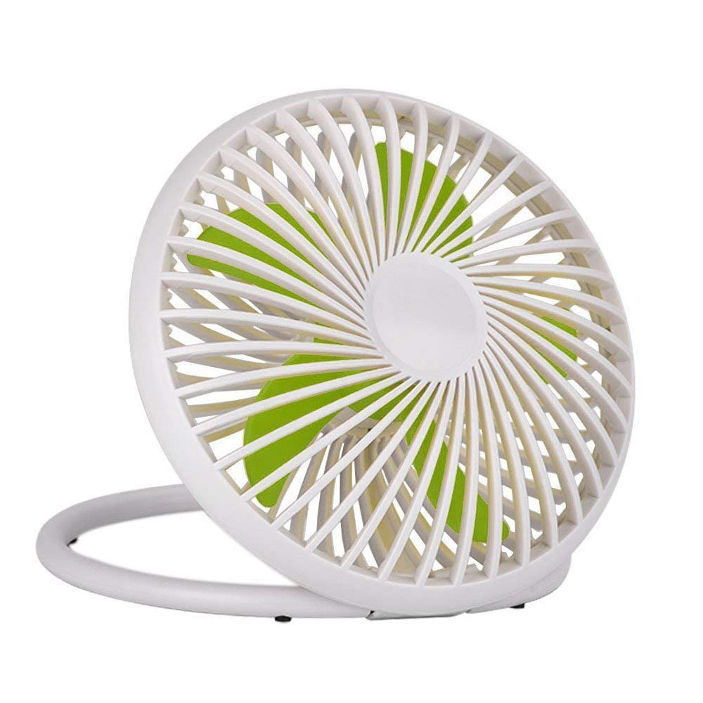 USHONK 6 inch Portable USB Powered Desk Fan Personal Cooling Fan,Small Table Fan Cooling Fan with 2 Speed & Adjustable Height,Great for Desktop Office Travelling Camping Fishing Home(White)