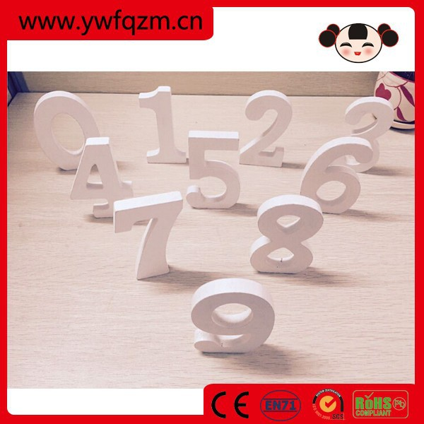 Hot selling home decoration mdf white small wooden number letters