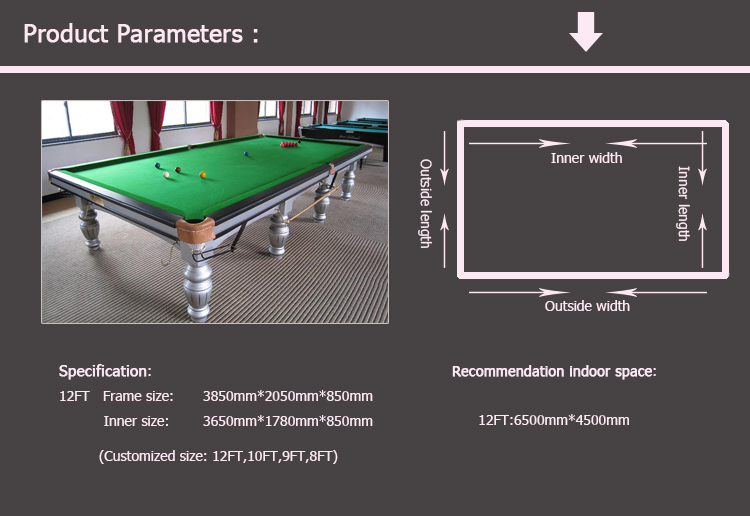 Solid Wood English Style Cheap Snooker Table Dimensions