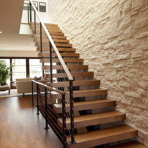 Indoor straight stairs modern design steel structure timber staircase