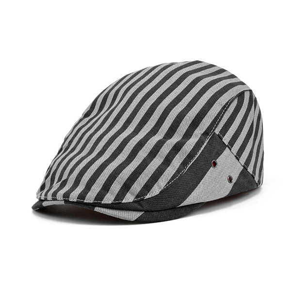 Newsboy Cabbie Gatsby Hat Flat Ivy Cap  Strip Canvas Golf Driving Beret Hat 08c6ddc8508