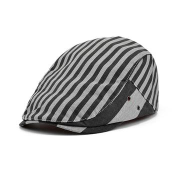 d2f6813d199 Newsboy Cabbie Gatsby Hat Flat Ivy Cap  Strip Canvas Golf Driving Beret Hat