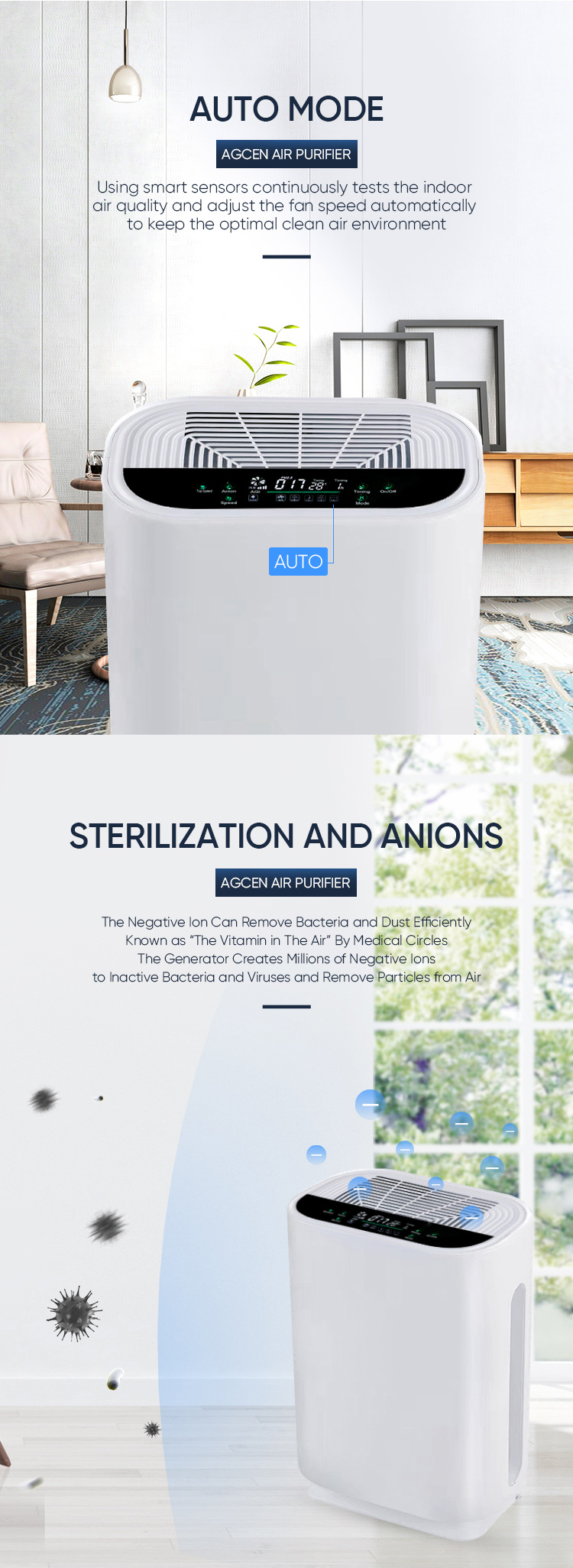2019 OEM Smart Home Air Freshener Machine HEPA Filter PM 2.5 Air Cleaner Air Purifier Home Small Room
