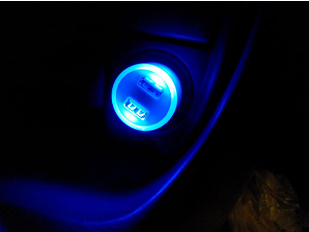 Blue Led Lights Inside Dual Port Usb Car Charger For Phone Buy