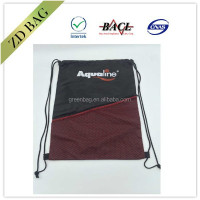 210d polyester mesh drawstring bag with zipper pocket