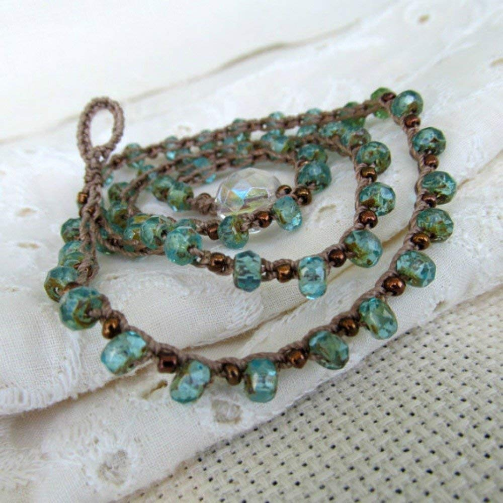 de5a809feb69 Get Quotations · Dainty boho crochet necklace Aqua And Copper
