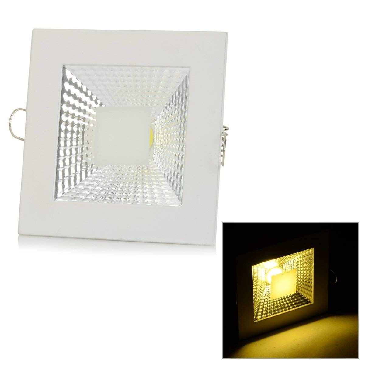 MyEasyShopping 5W 450lm 3500K COB LED Warm White Light Ceiling Lamp - White + Silvery Grey (AC 90~265V)