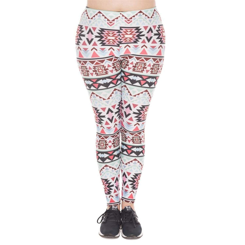 KEBINAI Athletic-leggings Kebinai Leggings Boho Green Printed High Waist Leggings Plus Size Trousers Stretch Pants Women
