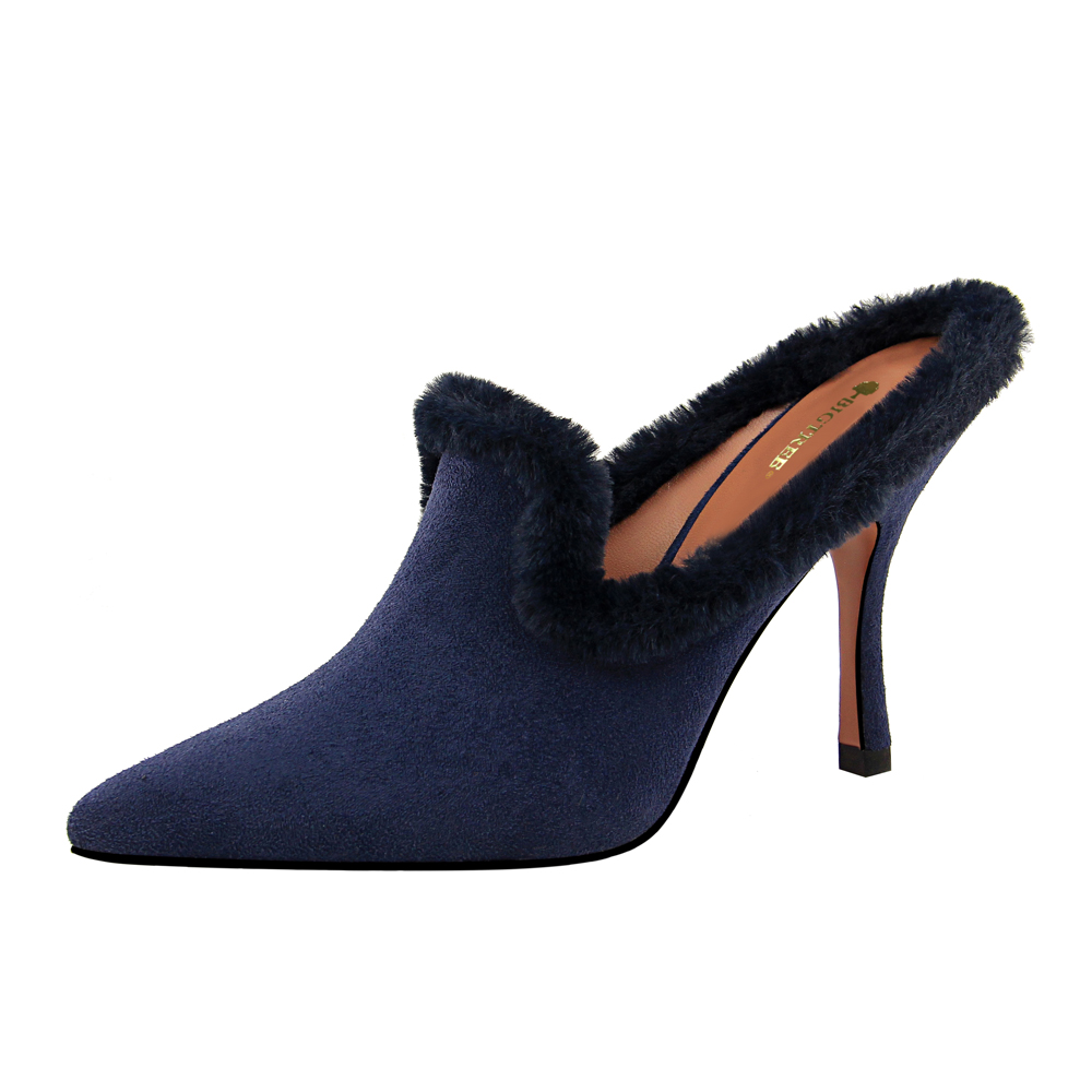 Fall Latest Ladies Sexy and Elegant Slippers With <strong>Heel</strong> Women High <strong>Heel</strong> Mules Shoes