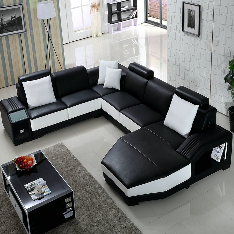 Black Living Room Furniture: Living Room Furniture Guangzhou Black And White Leather