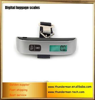 50kg digital luggage scale for suitcase,shopping,gift sale&family use with black strap&LCD display