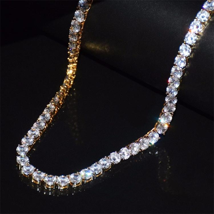 tennis chain necklace hiphop jewelry 925 sterling <strong>silver</strong> with iced out zircon