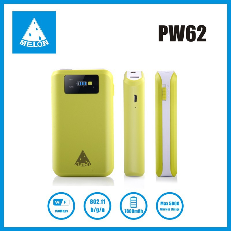 Plug and play wifi router with 6000mAh power bank, wan/lan port,Melon PW62