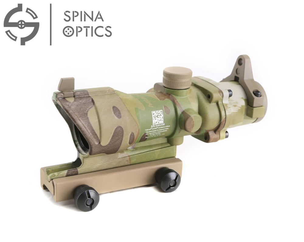 SPINA OPTICS ACOG 4x32 Optical Rifle Scope Real Red Optic Fiber Black/AT