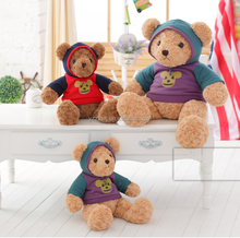 free sample stuffed teddy toys plush bear with clothes plush teddy bear with fleece soft bear toys with hat