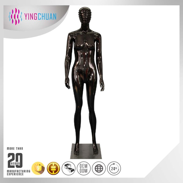 Glossy mannequin black standing ghost mannequin