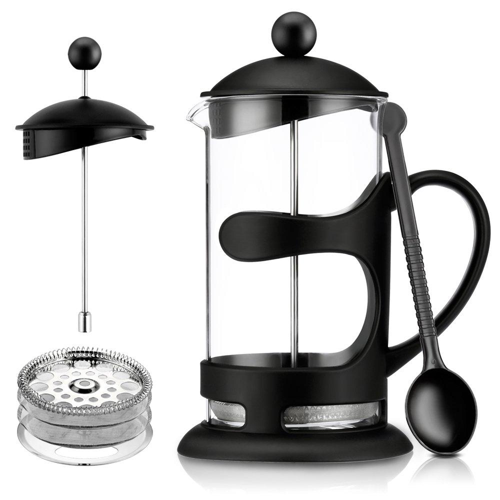 French Press Coffee Maker Coffee Press & Tea Maker FDA Borosilicate Clear Glass Coffee Press Machine Heat Resistant 1000ML (black)