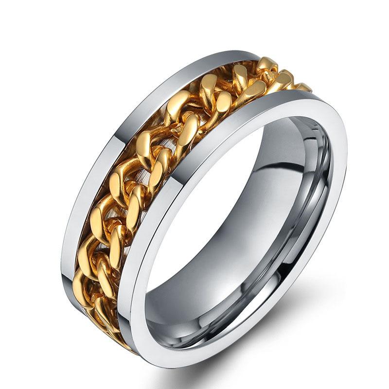 Buy 18K gold chain rings for mens stainless steel spinner finger ...
