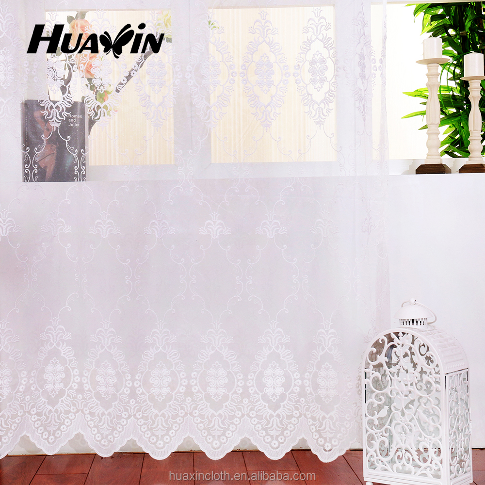 25 years factory with hot selling floral plain embroidery sheer lace curtains design