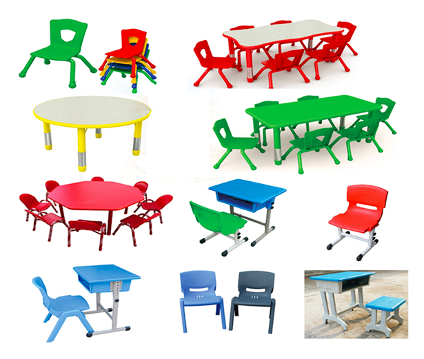 Hot selling colorful kindergarten furniture height adjustable kids table and chair set
