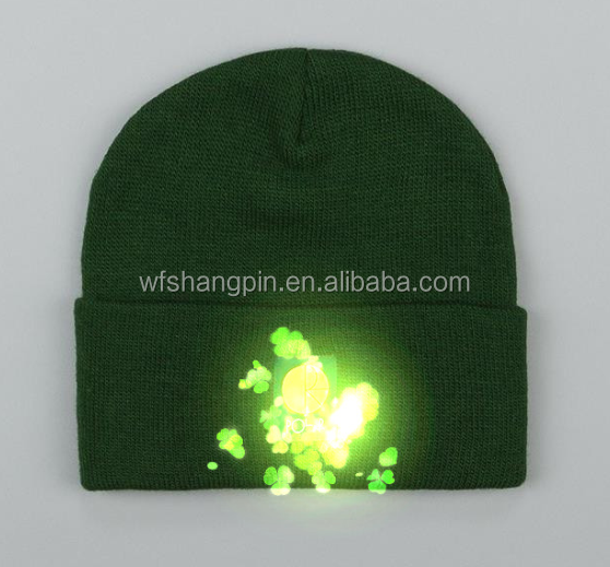 100% Acrylic custom made led beanies,beanies for men,custom patch beanies