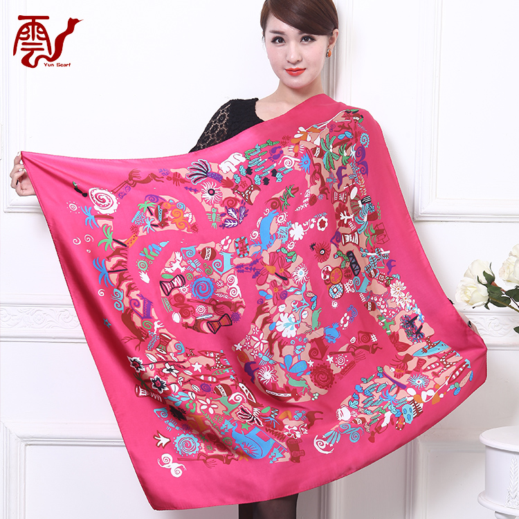 Best-selling african 90x90 women printed silk scarf shawl