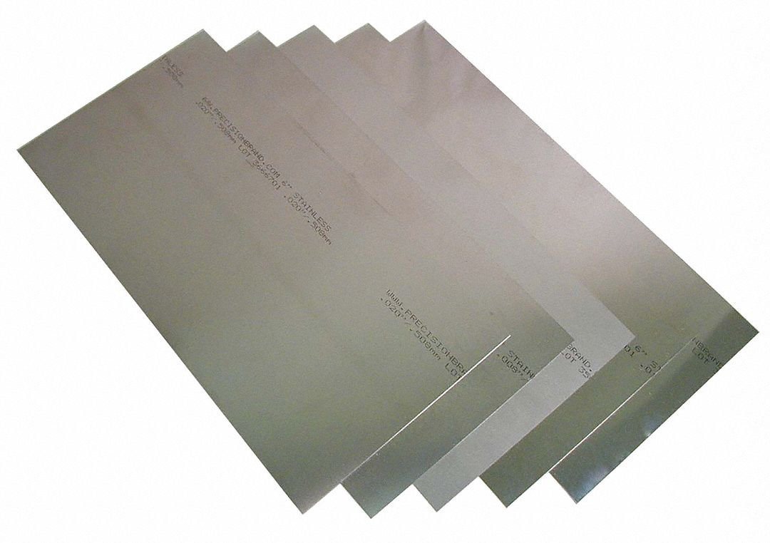 """PRECISION BRAND Stainless Steel Flat Shim Assortment - Model: 22LF8 Length: 12"""" Thickness: .001"""", .002"""", .003"""",.005"""", .008"""", .010"""", .015"""", .020"""" Width: 6"""" Package Quantity: 8"""